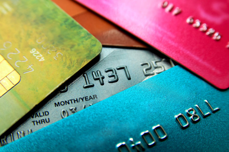 Close up of credit cards in various colors